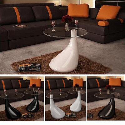 - vidaXL Side Coffee End Table Fiberglass High Gloss Glass Top White/Black 1/2 pcs