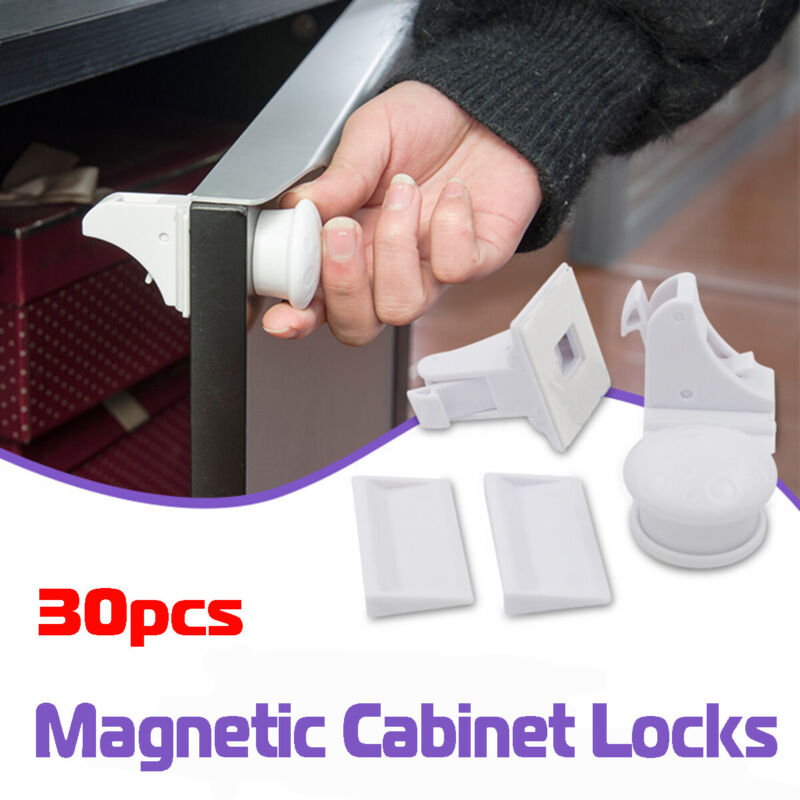 30x Magnetic Cabinet Locks Child Baby Proof Safety Cupboard Door Drawer  ❤ %