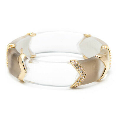 Alexis Bittar Encrusted Chevron Sectioned Hinged Bracelet Section Crystal Bracelet