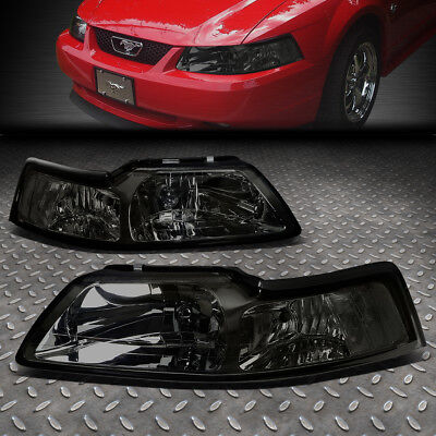FOR 1999-2004 FORD MUSTANG PAIR SMOKED HOUSING CLEAR CORNER HEADLIGHT/LAMP (2001 Ford Mustang Headlights)