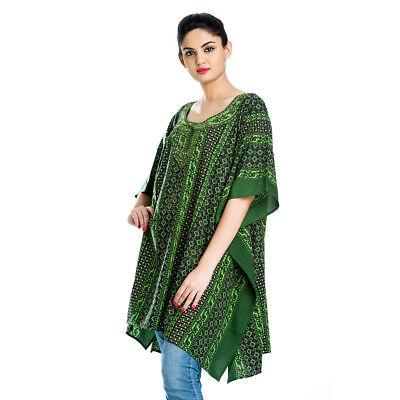 Green Black Printed Tunic Kaftan Short Kaftan Caftan Boho Tunic Beachwear for sale  Shipping to India
