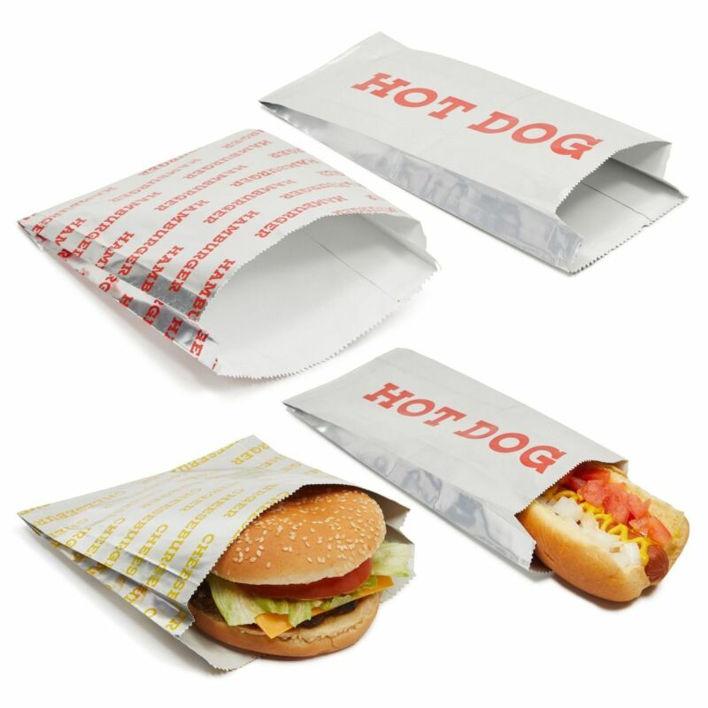 Greaseproof Paper Hot Dog Holders and Hamburger Wrappers (3 Designs, 300 Sheets)