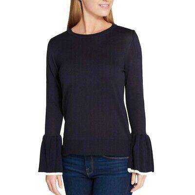 TOMMY HILFIGER NEW Women's Bell Sleeve Lightweight Crewneck Sweater Top (Bell Lightweight Sweater)