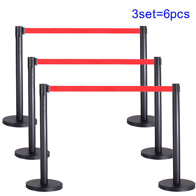 6Pcs Retractable Belt Stanchion Posts Queue Pole Red Crowd Control Barrier