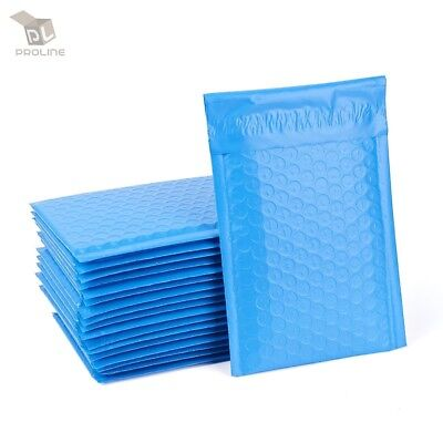 100 Blue Poly Bubble Padded Envelopes Self-Sealing Mailers 4X8 (Inner 4x7)