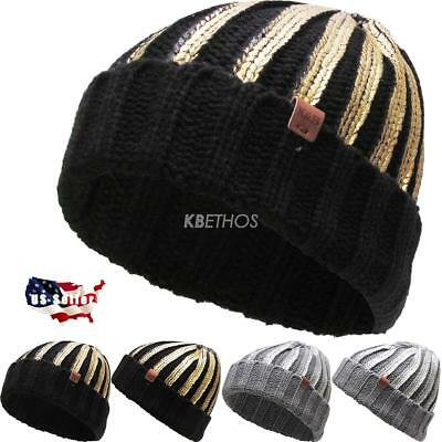 Winter Clearance Sale (CLEARANCE SALE!! Metallic Ribbed Cuffed Knit Beanie Winter Ski Hat Skull Cap)