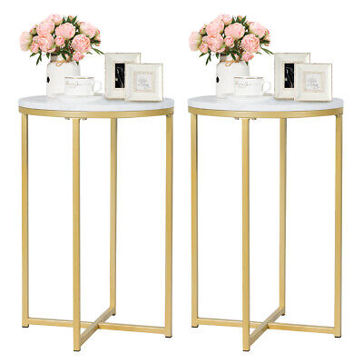 Set of 2 Round Side End Coffee Table Nightstand Faux Marble Top w/Metal Frame Round Set Side Table