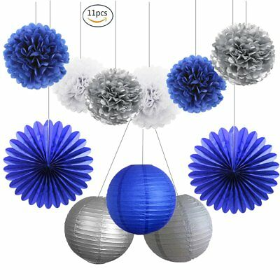 HEARTFEEL Navy Party Decorations - 11pcs Navy Blue Silver White Tissue Pom Poms - Pom Poms Blue And White