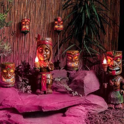 em Pole Aztec LED Garden Path Light | Stake Statue Torch (Tiki-totem Pole)