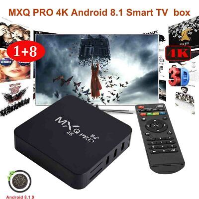 MXQ PRO Smart TV Box Android 8.1 Quad Core 1+8GB WIFI 4K 3D HDMI Media For USA