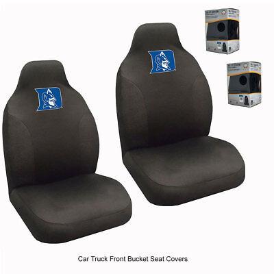 New NCAA University of Duke Blue Devils Car Truck 2 Front Black Seat Covers