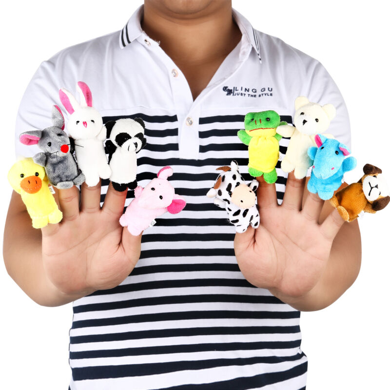 $5.89 - 10pcs Cartoon Family Finger Puppets Cloth Doll Baby Educational Hand Animal Toy