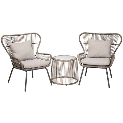 3PC Outdoor Patio Set Bistro Two Chair Seat Cushioned Grey with Glass Table Set Wicker Two Seat