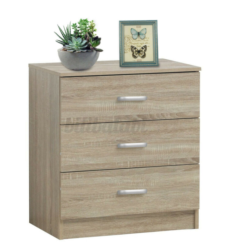 3 Drawers Chest Of Dressers Nightstands Bedside Table Living Bedroom Storage Us