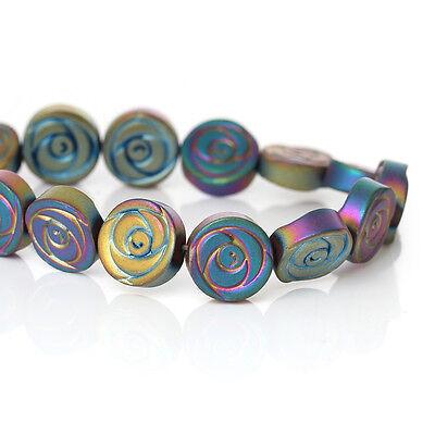10mm Titanium Coated HEMATITE Gemstone ROSE Flower Beads, full strand ghe0080