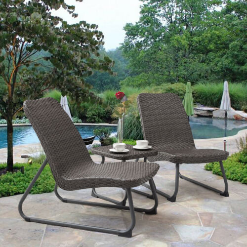 Outdoor 3 Piece All Weather Patio Garden Conversation Chair & Table Set Gray