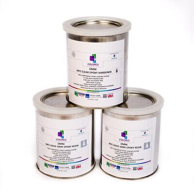 Light Gray Epoxy Resin 100 Solids For Garage Floor Concrete Plywood. 3 Qt Kit
