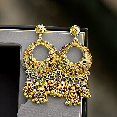 Fashion Oxidized Metal Gold Silver Carving Flowers Women Jhumka Jhumki Earrings - Gold Silver Flowers