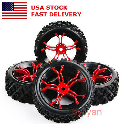 US 4Pcs Rubber Rally Tires&Wheel 12mm Hex Rim For RC 1:10 Racing Off Road Car