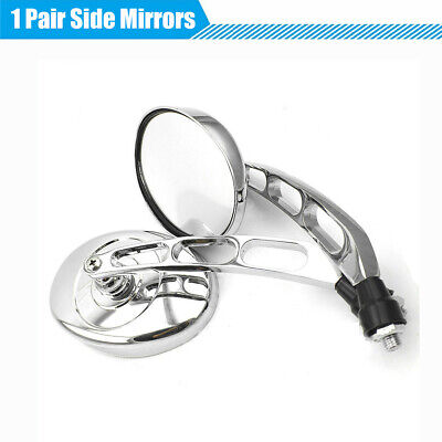 2Pcs M10 Chrome CNC Motorcycle Dirt Bike Side Rear View Mirrors Adjustable Angle