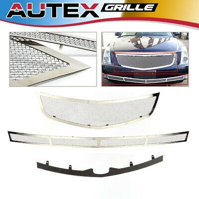 Mesh Grille Combo Stainless Steel Grill Fits For Cadillac DTS 06-10 Upper+Lower