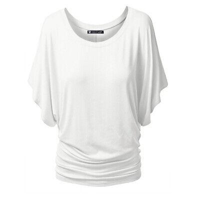 Womens Short Sleeve Dolman Drape Shirring Top Summer Casual Blouse Loose Fit Tee