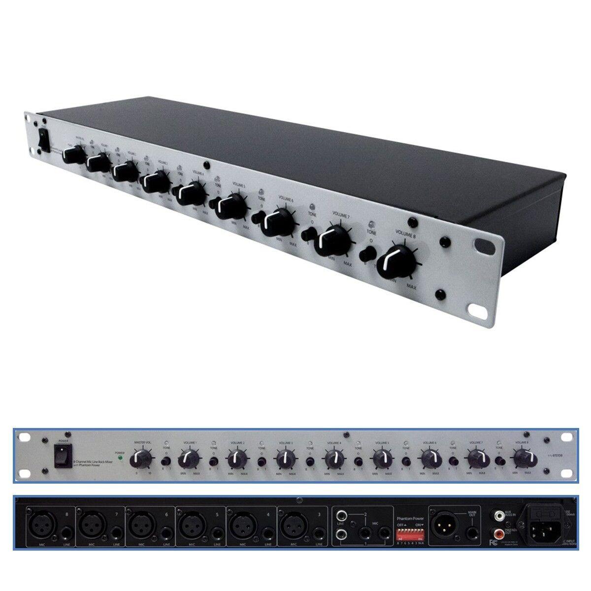 8 channel microphone line mixer xlr 1 4 trs rca 48v phantom power rack mount 1u ebay. Black Bedroom Furniture Sets. Home Design Ideas