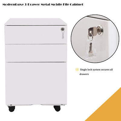 3 Drawers File Cabinet Mobile Metal Lockable Storage Filing Drawers Desk White