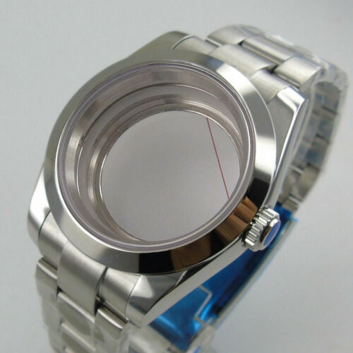 36mm/39mm fit NH35 NH36 Polish Watch Case Oyster Strap Seeing Back Screw Crown