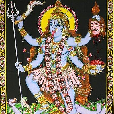 Wandbehang-KALI-Thangka Indien Wandbild  Stoffbild ma durga om Bild