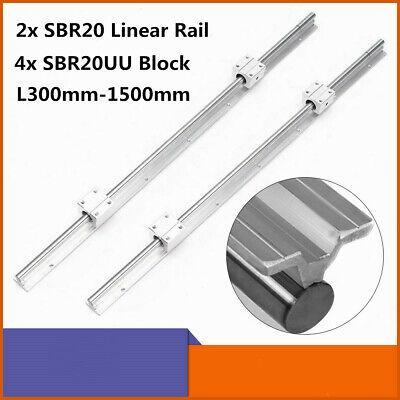 2x Linear Rail Sbr20 L300mm-1500mm Fully Support Shaft 4x Sbr20uu Block Bearing