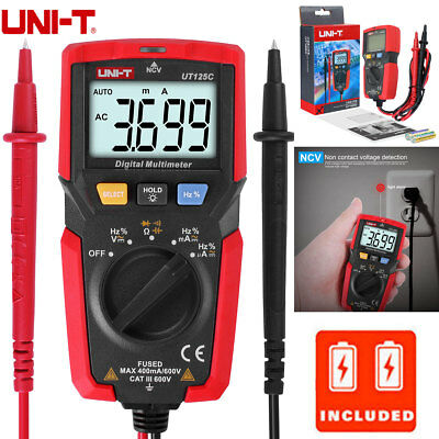Uni-t Ut125c Pocket Size Digital Multimeter Acdc Volt Amp Ohm Cap Hz Ncv Test