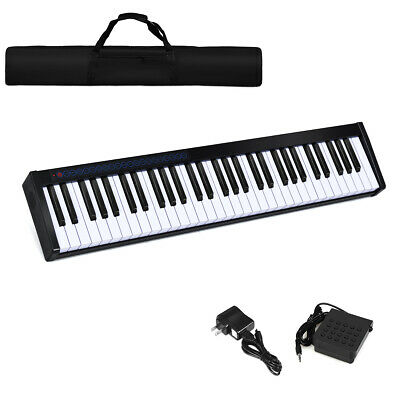 61 Key Digital Piano Portable MIDI Keyboard Bluetooth w/ Ped