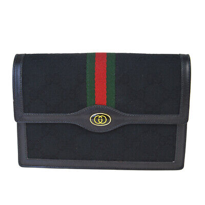 Auth GUCCI GG Shelly Pattern Clutch Bag Pouch Canvas Leather Black Italy 67BM765