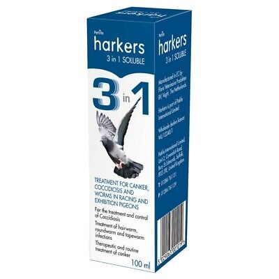 PIGEON Harkers 3 in 1 Soluble 100ml Coccidiosis Canker & Worms in Racing Pigeon