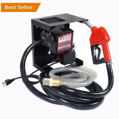 New 110v Electric Diesel Oil Transfer Pump Fuel Manual Nozzle Hose W Meter To