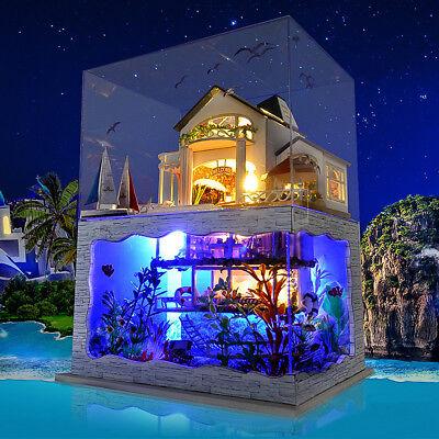 DIY LED Hawaii Villa Loft Apartments Dollhouse Miniature Wooden Furniture Kit