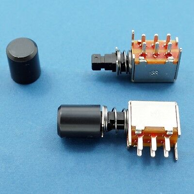 8 X Dpdt Push Button Slide Switch Latching Lock W Knob Cap 30v 1a Black