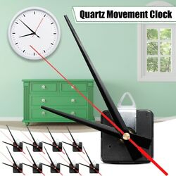 10pcs 20mm Black+Red Hand Quartz Wall Clock Spindle Movement Mechanism DIY Kit
