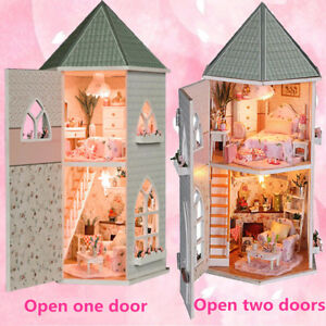 Childrens wooden dolls House & Furniture Fits Barbie complete with accessories