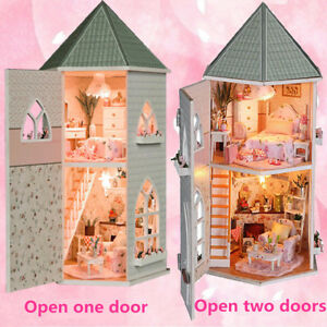 Childrens Wooden Dolls House U0026 Furniture Fits Barbie Complete With  Accessories