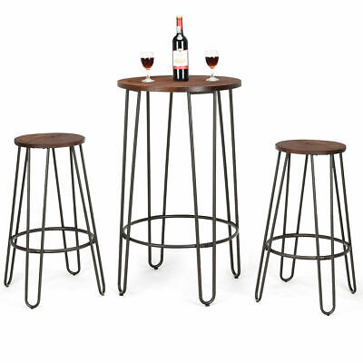 3 Piece Bistro Pub Set Round Table Counter Height Stools Wood Metal (Height Round Table)