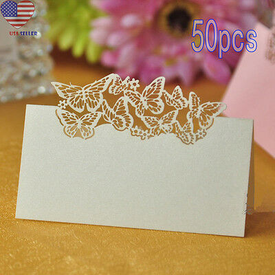 50pcs Butterfly Laser Cut Table Place Card Name Number Wedding Party Decoration