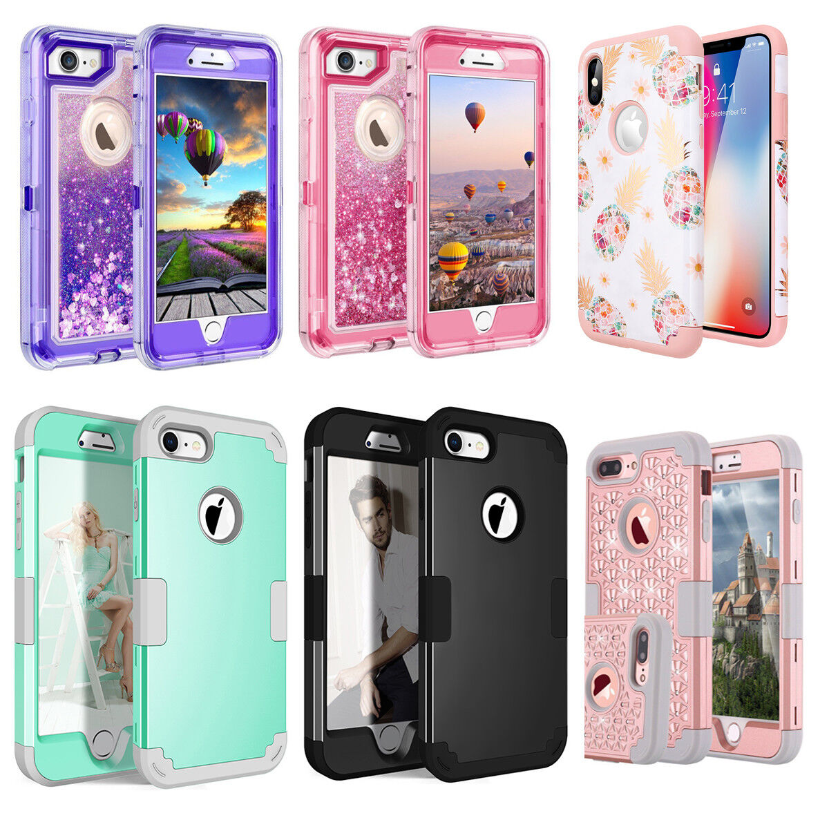 iPhone X 6S 8 7 Plus XS Max Case Hybrid Rugged Hard Heavy Duty Shockproof Cover
