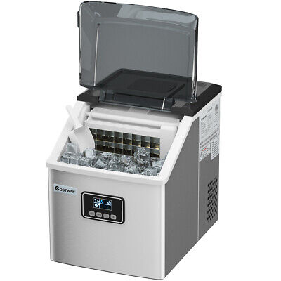 Stainless Steel Ice Maker Machine Countertop 48Lbs/24H Self-Clean w/ LCD