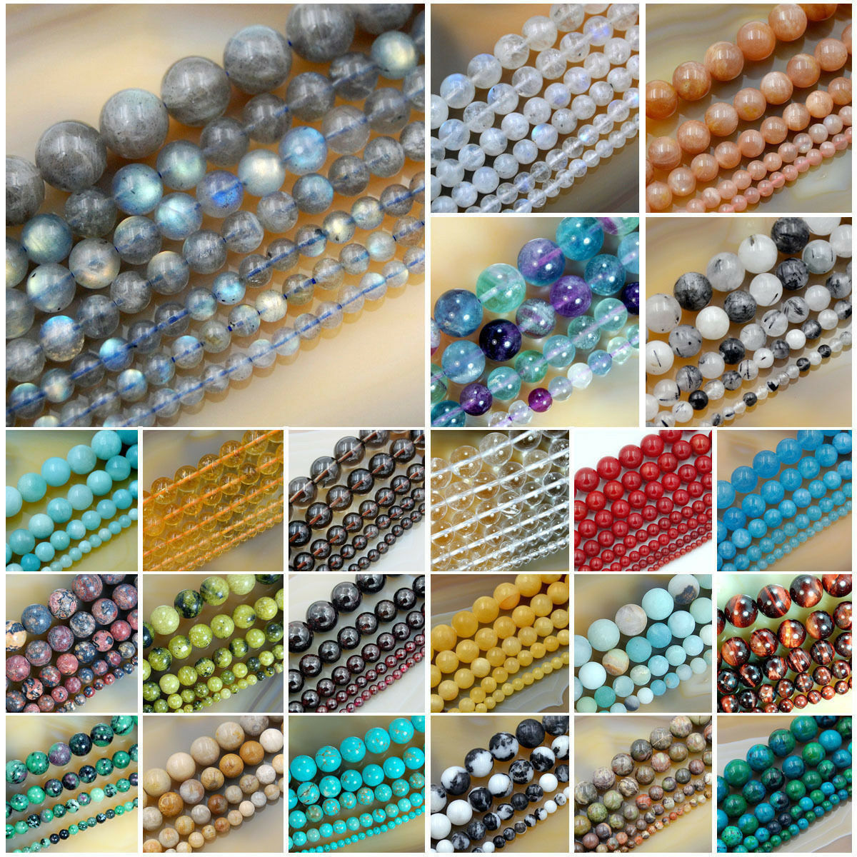 "Wholesale Smooth Natural Gemstone Round Loose Beads 15""  4mm"