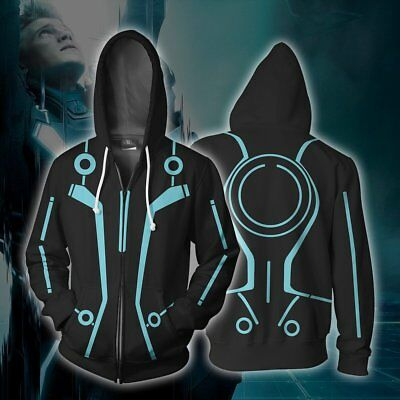 Movie Tron : Legacy Hoodie Sweatshirt Jacket Sweater Cosplay Costume Zip Up Coat (Tron Costume)