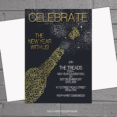 Invitations Personalised x12 +envs Champagne Gold H1440 (New Years Eve Party)