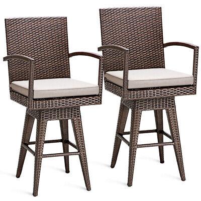 2PCS Rattan Swivel Bar Stool Chair Patio Backyard Furniture Seat -