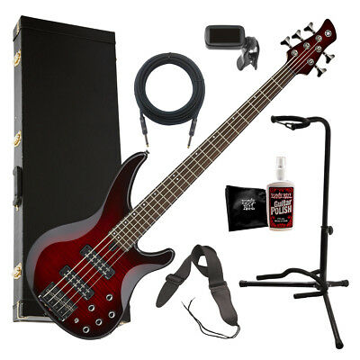 Yamaha TRBX605FM 5-String Bass Guitar - Dark Red Burst COMPLETE BASS BUNDLE
